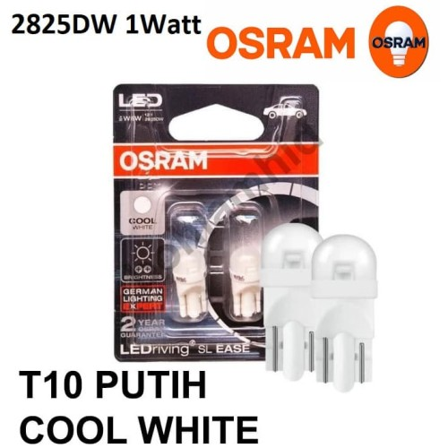 Foto Produk Lampu Kecil Senja Kota LED T10 Osram Genuine Putih 6000K W5W 2780CW - 2825DW 1W dari Bohlam HID