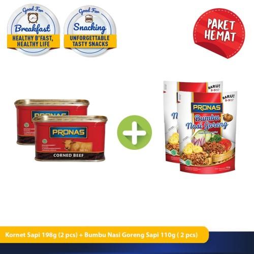 Foto Produk Pronas Nasi Goreng 110 g dan Kornet Sapi 198 g (bundling 4 cs) dari Pronas Official Store