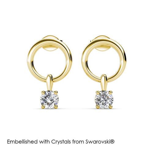 Foto Produk Octavia Earrings 3 colours -Anting Crystal Swarovski by Her Jewellery - Yellow Gold dari Her Jewellery