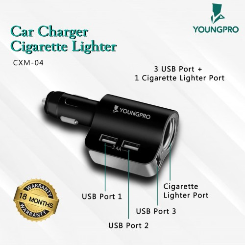 Foto Produk Youngpro CXM-04 - Car Charger 3.4A 3Usb With Cigarette Lighter Socket dari YOUNGPRO INDONESIA