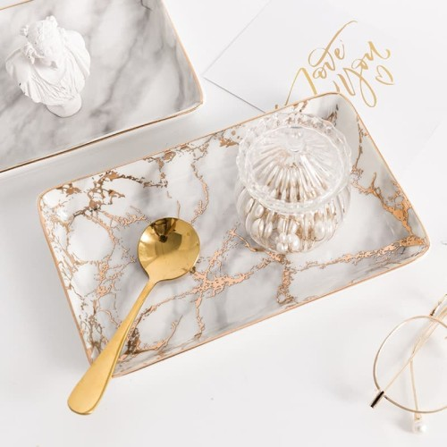 Foto Produk FRENCH MARBLE TRAY/ NAMPAN MARMER/ NAMPAN MARMER DEKORASI - Non-Gold, 21 cm x 13 cm dari Wigo Living