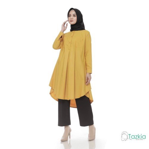 Foto Produk Atasan Muslim Wanita | Azkia Tunik Kuning | Toyobo | Tazkia Hijab - Kuning dari Tazkia Hijab Store