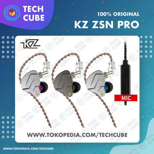 Foto Produk KZ ZSN PRO with MIC In Ear Earphone Headset Hybrid 1BA 1DD HIFI Bass - Gray dari Tech Cube
