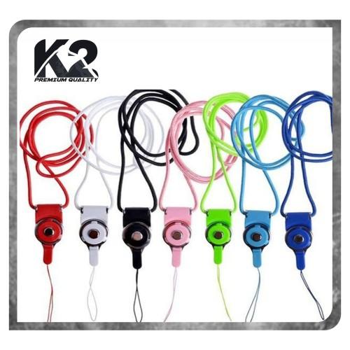 Foto Produk Tali Gantungan HP 2in1 / Strap Gantungan HP Model Kalung - Hitam dari K2 Official Store