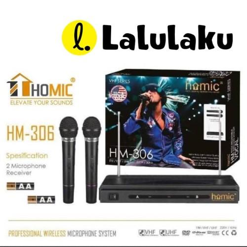 Foto Produk Mic Microphone HOMIC Double Wireless HM-306 HM306 VHF Series dari Lalulaku