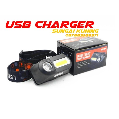 Foto Produk NEW SENTER KEPALA COB LED / Headlamp dobel LED 3 Modes COB USB Charger - HANYA HEADLAMP dari Sungai Kuning