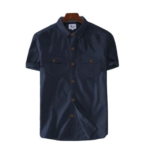 Foto Produk Baju Kemeja Tactical Casual Polos Lengan Pendek Fashion Pria Terbaru - Navy, S dari Desain Clothing