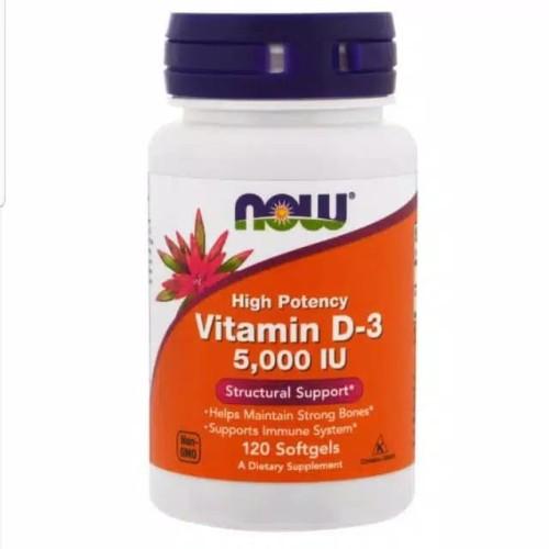 Foto Produk Now foods Vitamin D3 5000 IU D-3 5000IU high potency isi 120 softgel dari Sevenztore