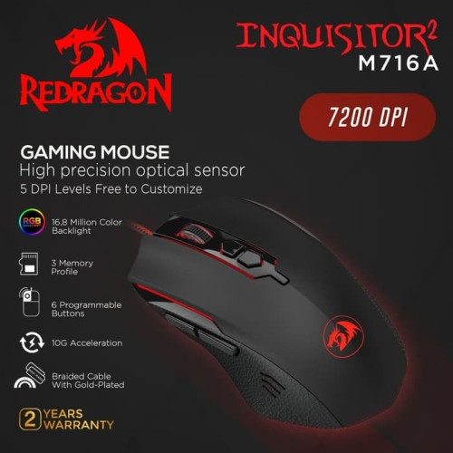 Foto Produk Redragon M716A Gaming Mouse INQUISITOR 2 dari manekistore