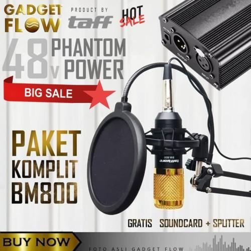 Foto Produk (PAKET KOMPLIT) Mic Microphone BM800 + Phantom Power HOME RECORDING - Gold dari Gadget Flow