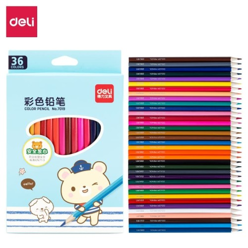 Foto Produk Deli pensil warna 36C warna cerah, bentuk hexagonal 7019 - 12 pcs dari Deli Stationery