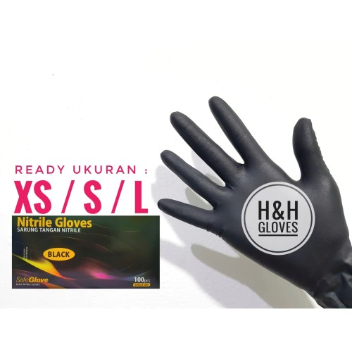 Foto Produk Sarung Tangan Nitrile Examination Gloves Safe Glove Black - XS dari H&H gloves