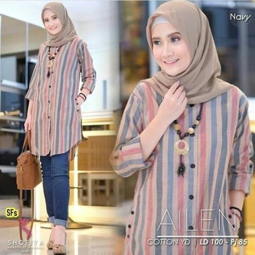 Foto Produk Tunik Ailen Baju Atasan Wanita Fashion Muslim Bahan Katun - Navy, XL dari Shafiyya Olshop