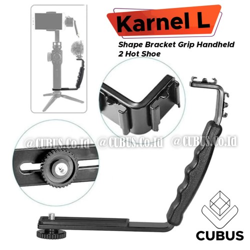 Foto Produk Karnel L Shape Bracket Grip Handheld 2 HotShoe Flash MIC Light Vlogger dari Cubus_Co_ID