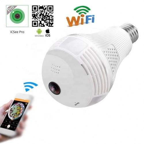 Foto Produk Camera CCTV IP Wireless Panoramic FISH EYE 360 Bohlam lampu 2MP - PACKING DUS dari bb20