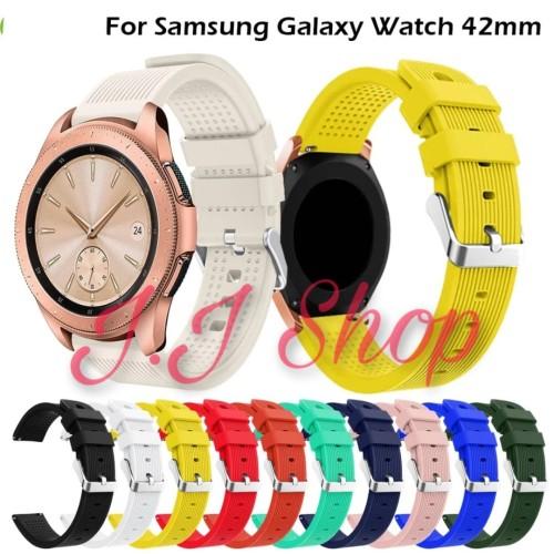 Foto Produk Strap Silikon Silicone Band Samsung Galaxy Watch 42mm SM R810 Tali Jam dari Logam Mulia Termurah
