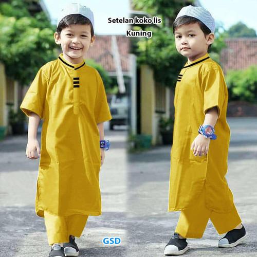 Foto Produk Baju Koko Anak Laki Laki/Baju setelan Muslim Anak-st koko lis - Kuning dari www.grosirdress.com