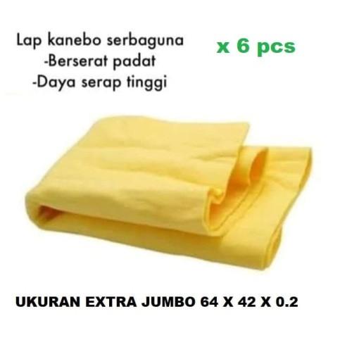 Foto Produk isi 6 pcs Kain Lap Chamois Kanebo Extra Besar XXL Berserat Jumbo 64x32 dari lbagstore
