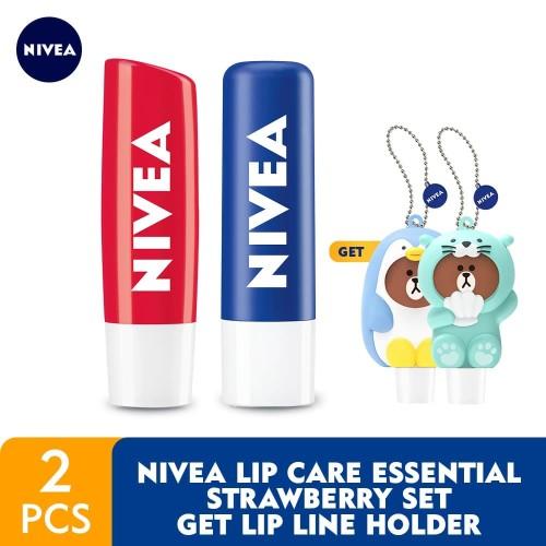 Foto Produk NIVEA Lip Care Essential Strawberry Set GET Lip LINE Holder dari NIVEA Official