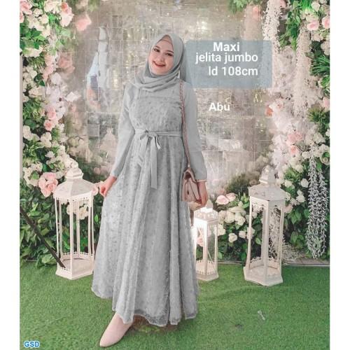 Foto Produk Baju Gamis Muslim Wanita - Gamis Maxi Jelita jumbo abu dari Topi Apik