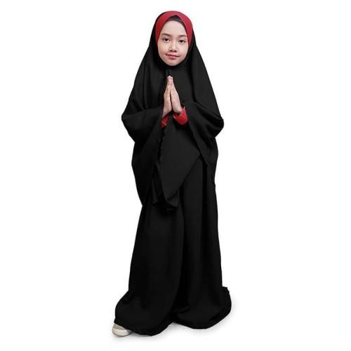 Foto Produk Bajuyuli - Gamis Anak Syari Set Polos Kombinasi Hitam Marun WSBK02 - M dari Bajuyuli