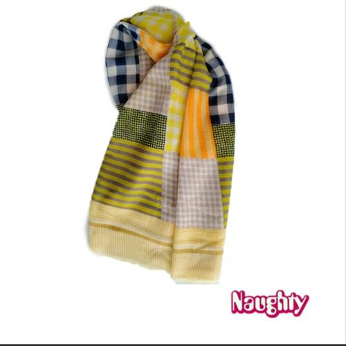 Foto Produk Naughty Accessories syall scraf phasmina hijab wanita - Kuning, P190cm x L80cm dari Naughty Official Store