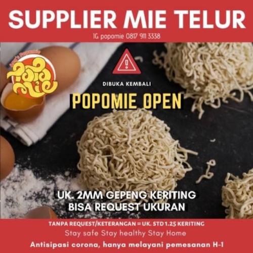Foto Produk Mie Telur Popomie Bisa Request Tebal Halus Gepeng Lurus Keriting - 2mm Gepeng, Lurus dari Popomie