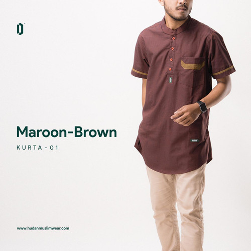 Foto Produk kurta lengan pendek hudan muslim wear Maroon Brown - M dari Hudan Muslim Wear