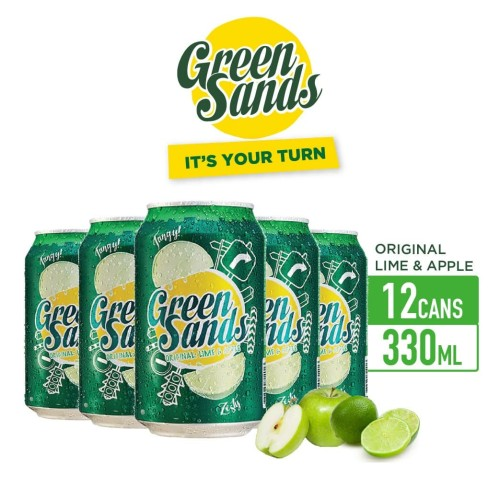 Foto Produk Green Sands Lime & Apple Soft Drink 330ml Can Multipack 12 dari Drink Corner Bekasi