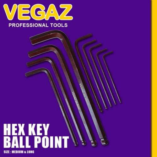 Foto Produk VEGAZ - Hex Key Ball Point / Kunci L Ball Point Material S2 dari Vegaz-Tools