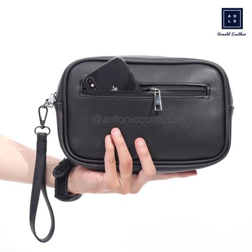 Foto Produk Handbag Pria Kulit / Tas Tangan / Pouch / Clutch Tas Gadget Hand Bag - Hitam dari antoniocollection