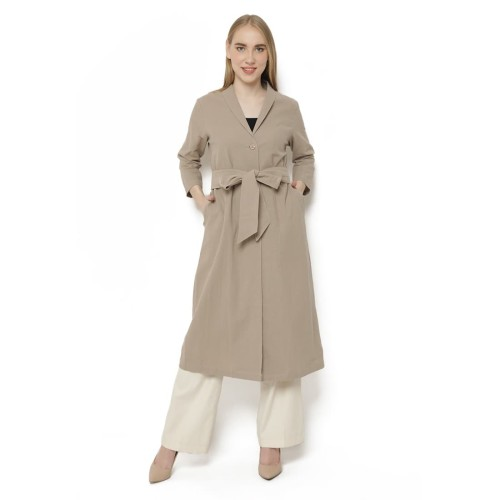 Foto Produk Emnes Long Outer Coat Knot - Cokelat dari Indonesia Mall