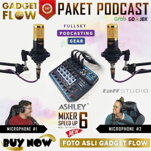 Foto Produk PAKET PODCAST Mic Microphone BM800 BM 800 Mixer 6 Channel Recording - Gold dari Gadget Flow