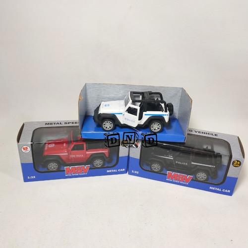 Foto Produk Mainan Anak Diecast Metal Mobil Jeep Wrangler Rubicon Police Car 1:32 dari Toko DnD
