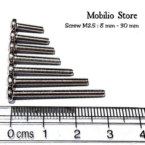 Foto Produk Baut M2.5 8 - 30 mm Stainless Steel 304 Bolts - 8 mm dari Mobilio Store