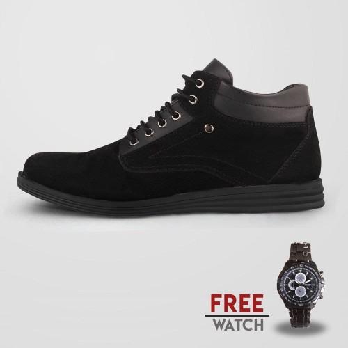 Foto Produk Sepatu Casual Pria S. Van Decka J-SU01 Free Jam Tangan - Hitam dari S.Van Decka
