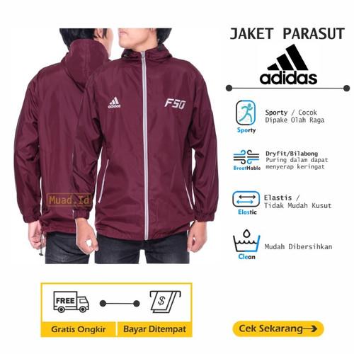 Foto Produk Jaket Adidas F50 Parasut Sporty [Olahraga] Sepeda Jogging Lari Unisex - Maroon - Abu, L dari Muad Id