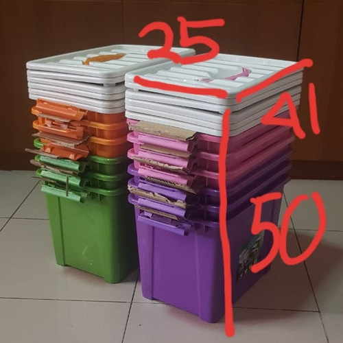 Foto Produk SET ISI 6 Box Container 15 Liter (Warna Solid) / Box Container 15L dari secretbasesby