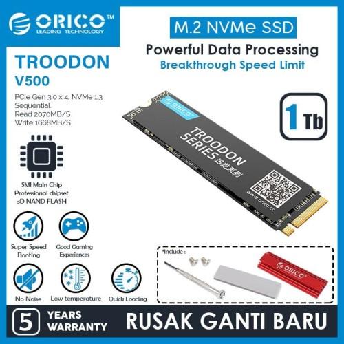 Foto Produk ORICO 1TB SSD M.2 NVMe 2280 TROODON SERIES - V500-1TB dari ORICO INDONESIA