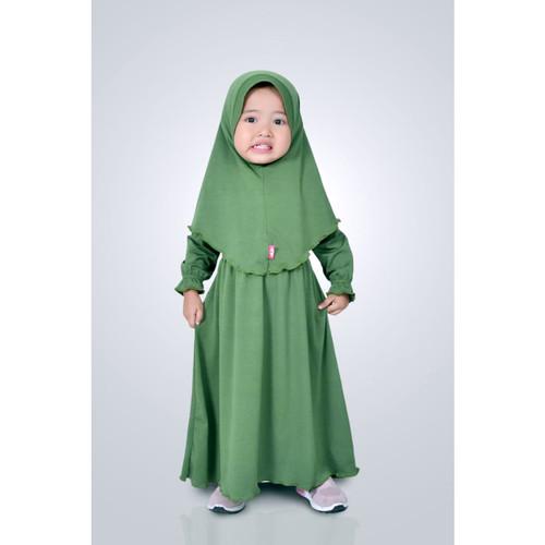 Foto Produk HAURA BUSANA Baju Gamis Anak Perempuan Syari Hijau Botol - XS dari HAURA BUSANA