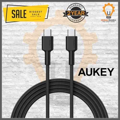 Foto Produk Aukey Cable CB-CD19 Braided type C to type C 2M Black - 500428 dari Urban Geeks