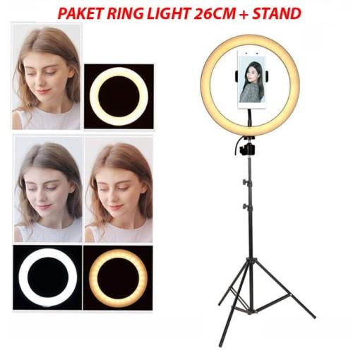 Foto Produk Paket Komplit HALO LED Ring Light 8inch - RL21 - 8W - BI COLOUR dari Rajawalidigital