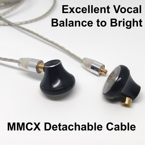 Foto Produk Excellent Vocal HiFi Earphone With MMCX Detachable Metal Build - Silver Non Mic dari Onebest Choice
