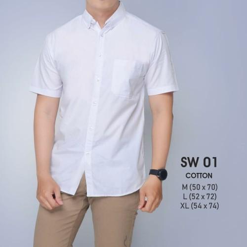 Foto Produk kemeja katun pria cowok lengan pendek warna putih polos formal murah - M dari MNMLS ID