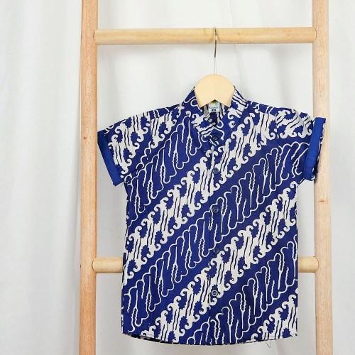 Foto Produk Kemeja Anak Batik cap halus biru - Baladewa - XS 9-12mo dari pop kidswear