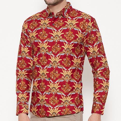 Foto Produk Odza Classic Kemeja Batik Ranting Merak Merah - Merah, M dari Odza Classic