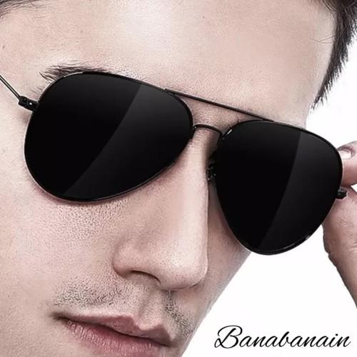 Foto Produk kacamata Pria Retro Police Sunglasses Pantai Hitam KKPRO - Hitam dari banabanain
