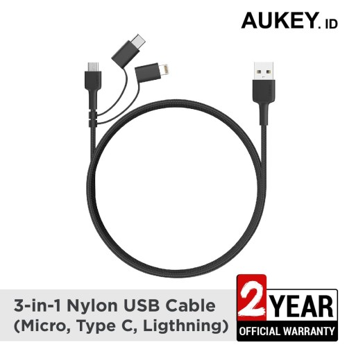 Foto Produk Aukey 3 In 1 MFI Lightning Cable With Micro USB & USB C Cable - 500377 dari AUKEY