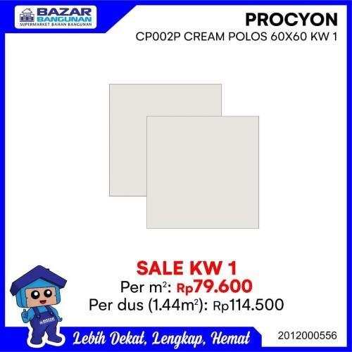 Foto Produk GRANITE GRANIT TILE LANTAI DINDING PROCYON CP002P CREAM POLOS 60X60 dari Bazar Bangunan