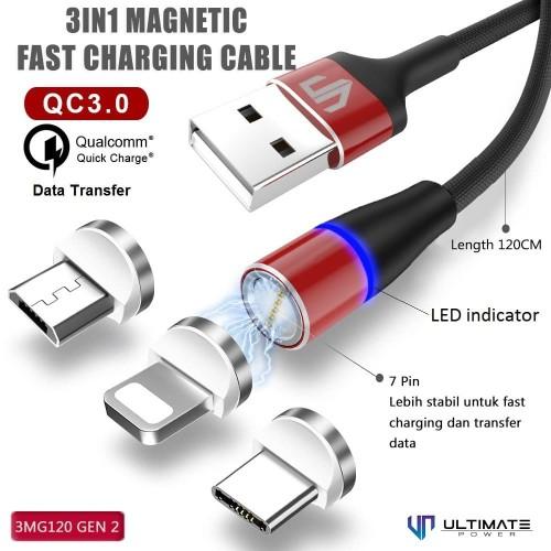 Foto Produk Ultimate Power 3in1 Magnetic USB Kabel Data Fast Charging 3MG120 Origi dari Ultimate Power Official